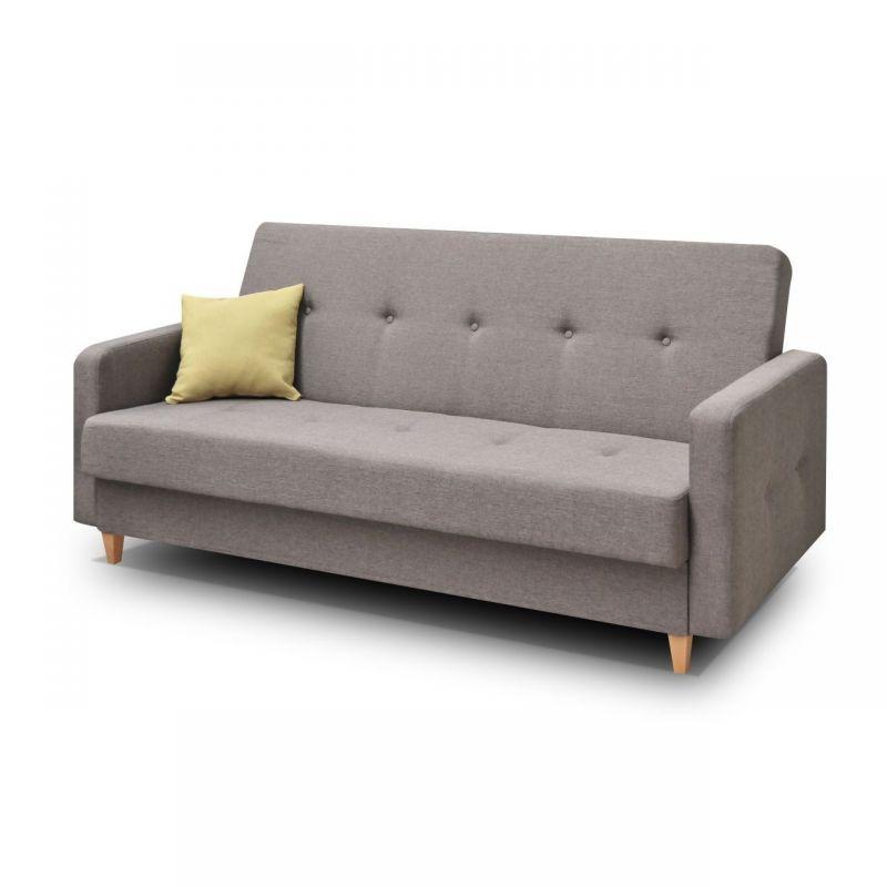 Szara kanapa z funkcją spania i pojemnikiem