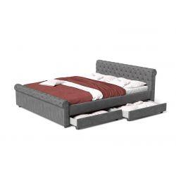 Łóżko 140x200 z szufladami i pikowanym zagłówkiem