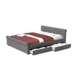 Szare łóżko do sypialni 160 cm z szufladami