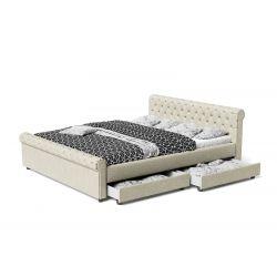 Duże Łoże sypialniane z szufladami 160x200 styl Glamour
