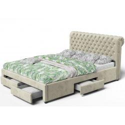 Łóżko 140x200 z czterema szufladami na pościel