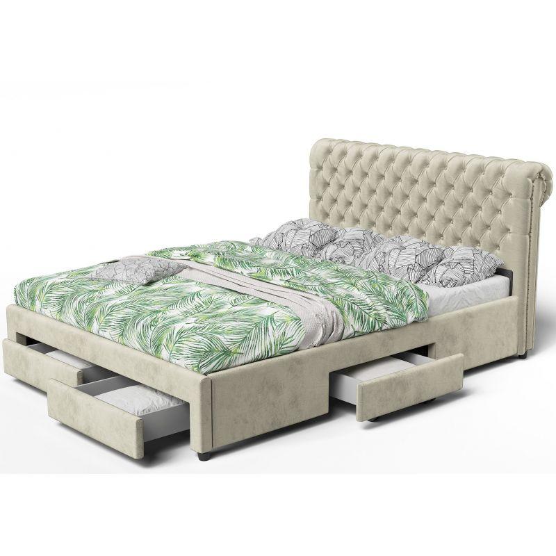 Łóżko z szufladami 160x200 welurowa tkanina