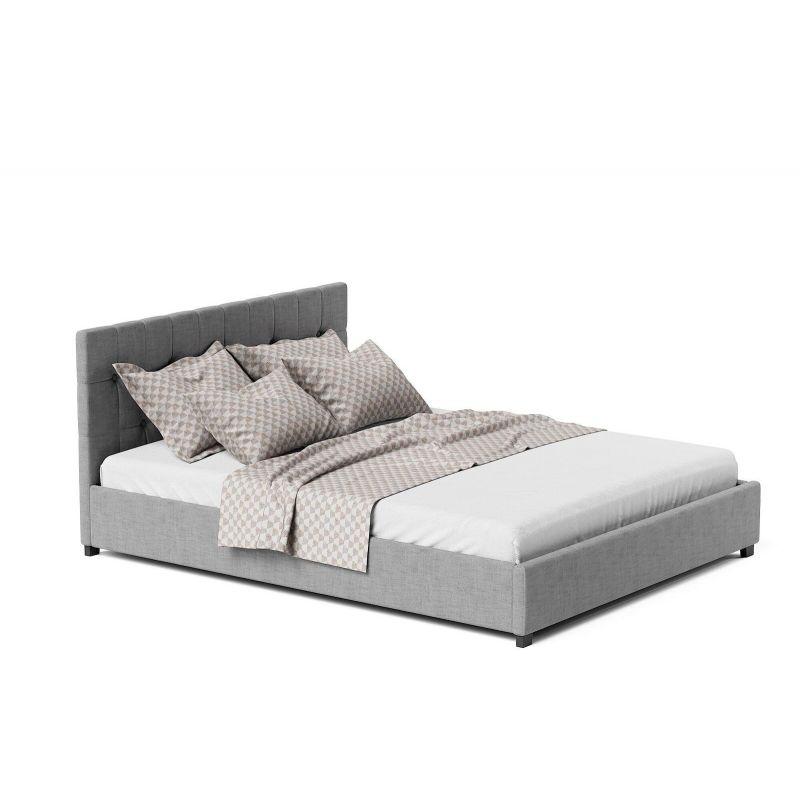 Szare tapicerowane łóżko z pojemnikiem na pościel
