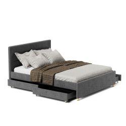 Łóżko tapicerowane do sypialni 140x200 z szufladami i stelażem