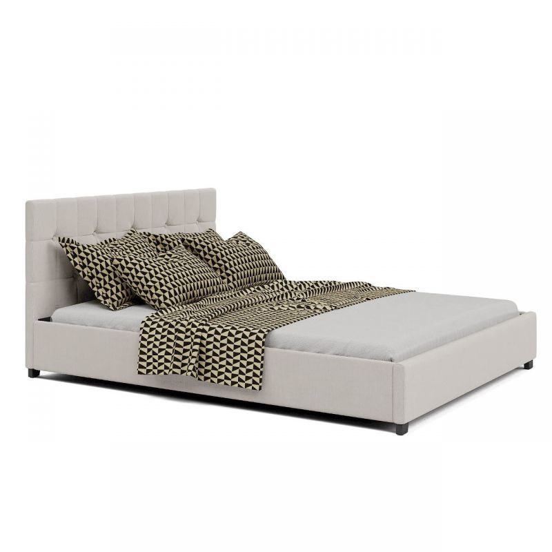 Beżowe łóżko tapicerowane 140 z pojemnikiem