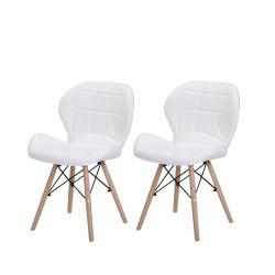 Białe krzesła skandynawskie ekoskóra
