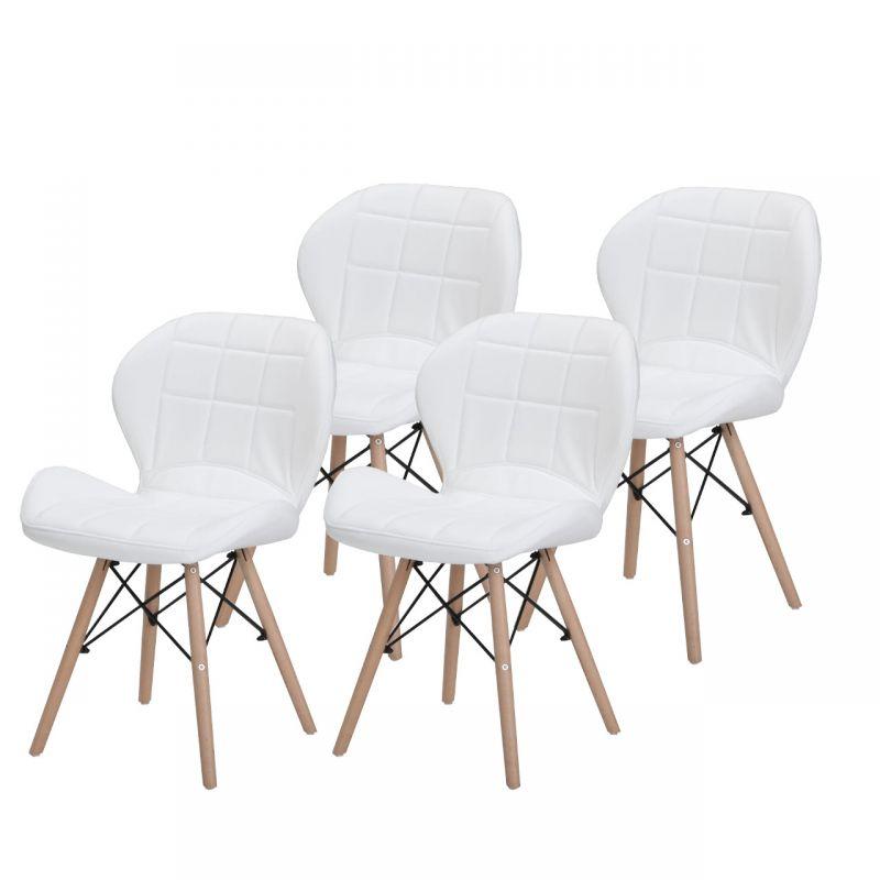 Białe Krzesła Do Kuchni Tapicerowane 4 Szt