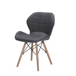 Krzesło szare na drewnianych nogach ekoskóra