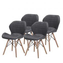 Szare krzesła tapicerowane skandynawskie 4 szt