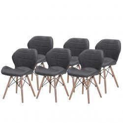 Szare krzesła do kuchni z ekoskóry tapicerowane