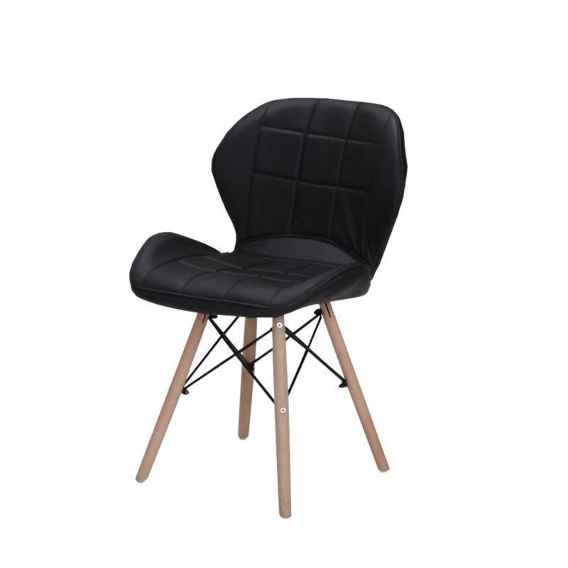 Krzesło czarne z oparciem tapicerowane skóra ekologiczna