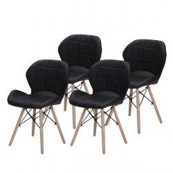 Czarne krzesła skandynawskie do jadalni tapicerowane