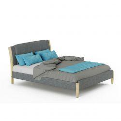 Łóżko szare tapicerowane ze stelażem 140x200