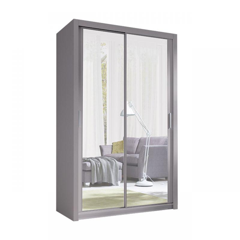 Przesuwna szafa szara 120 cm z lustrem