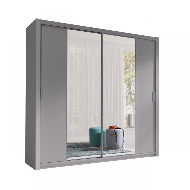 Szafa przesuwna szara wolnostojąca 2 drzwiowa z lustrami