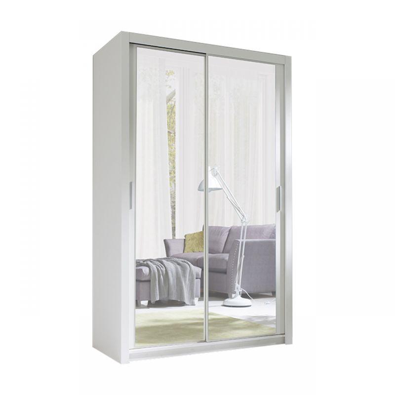 Biała szafa 120 cm z lustrami drzwi przesuwne
