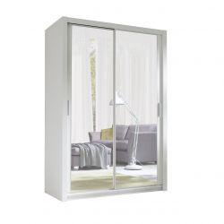 Biała szafa 150 cm z lustrem wąska do sypialni