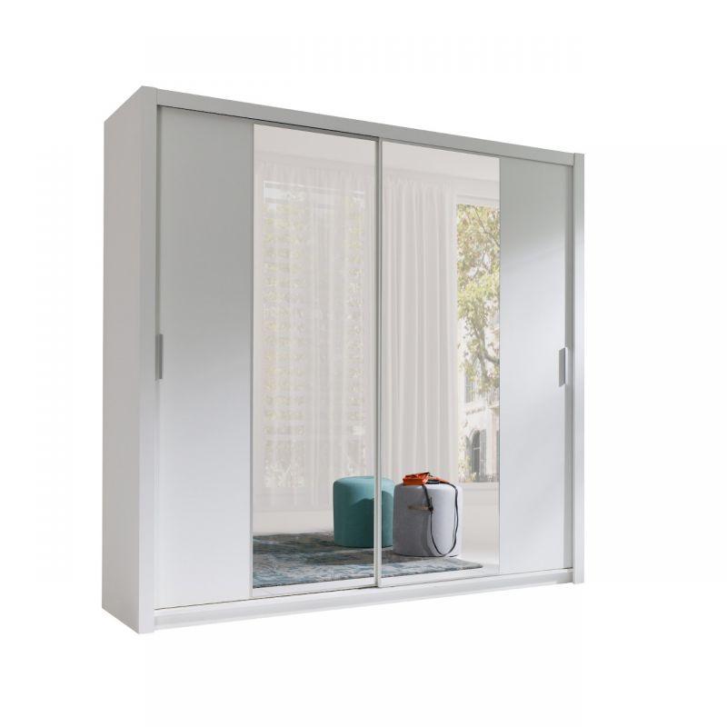 Szafa biała rozsuwana 200 cm z lustrem