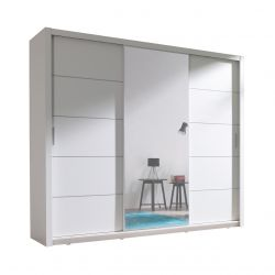 Biała szafa z lustrem do sypialni 250 cm