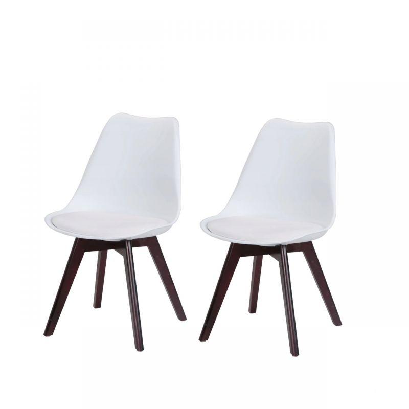 Dwa białe krzesła styl skandynawski plastikowe