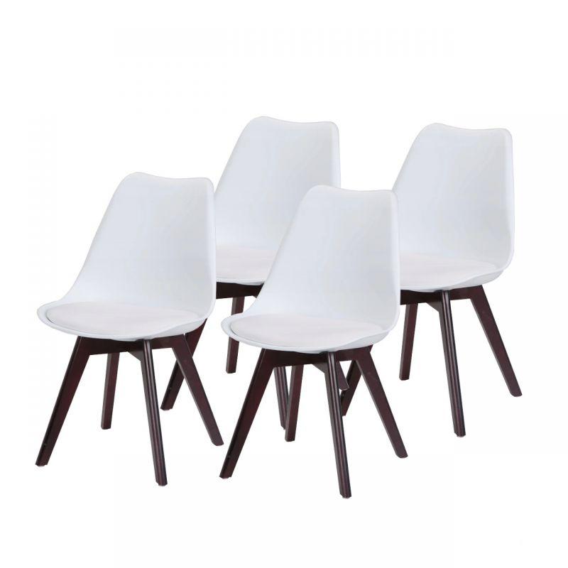Białe krzesła skandynawskie plastikowe 4 szt