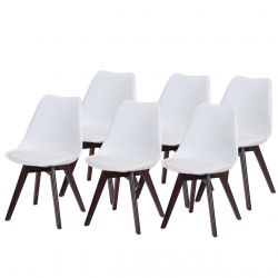 Białe krzesła plastikowe z drewnianymi nogami 6 szt