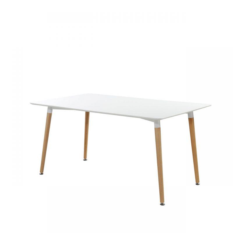 Stół biały połysk w stylu skandynawskim do jadalni
