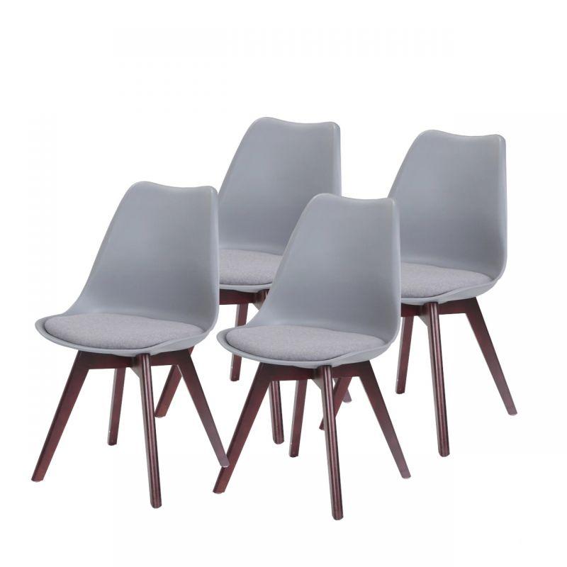 4 krzesła w stylu skandynawskim z szarym obiciem