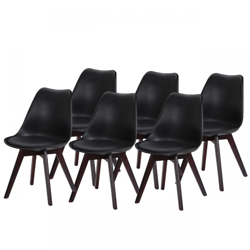Czarne krzesła do kuchni - zestaw 6 szt.