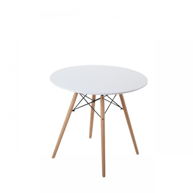 Biały okrągły stół do kuchni 80 cm