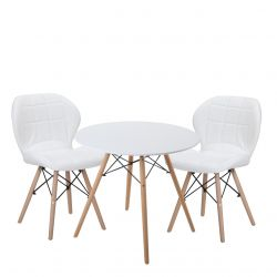 Okrągły stół z krzesłami w stylu skandynawskim biały