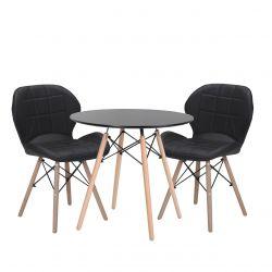 Czarny stół okrągły z krzesłami do kuchni