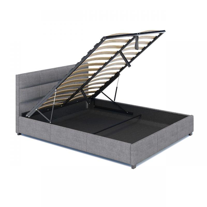 Łóżko szare tapicerowane z pojemnikiem 140