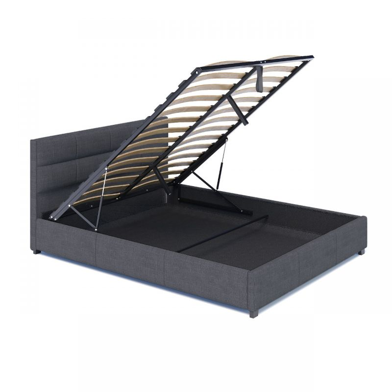 Podwójne łóżko z pojemnikiem tapicerowany zagłówek
