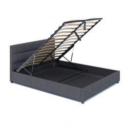 Łóżko z tapicerowanym zagłówkiem i pojemnikiem 180