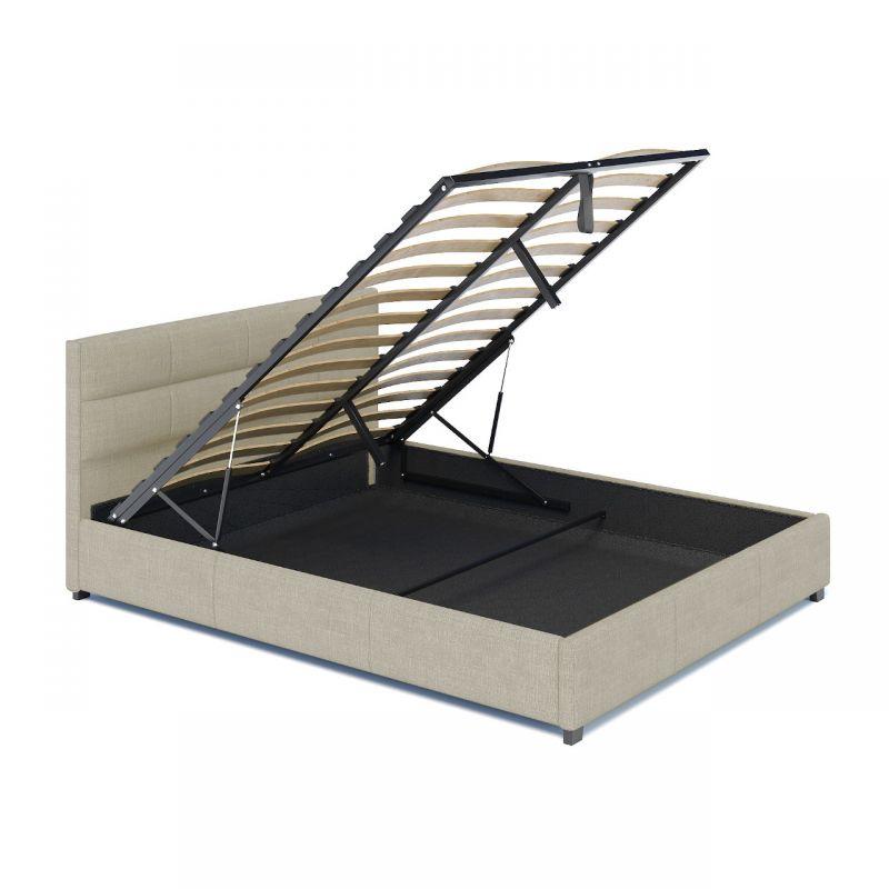 Łóżko pojedyncze tapicerowane z pojemnikiem ze stelażem 120x200