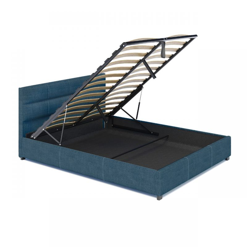 Turkusowe łóżko z pojemnikiem tapicerowane