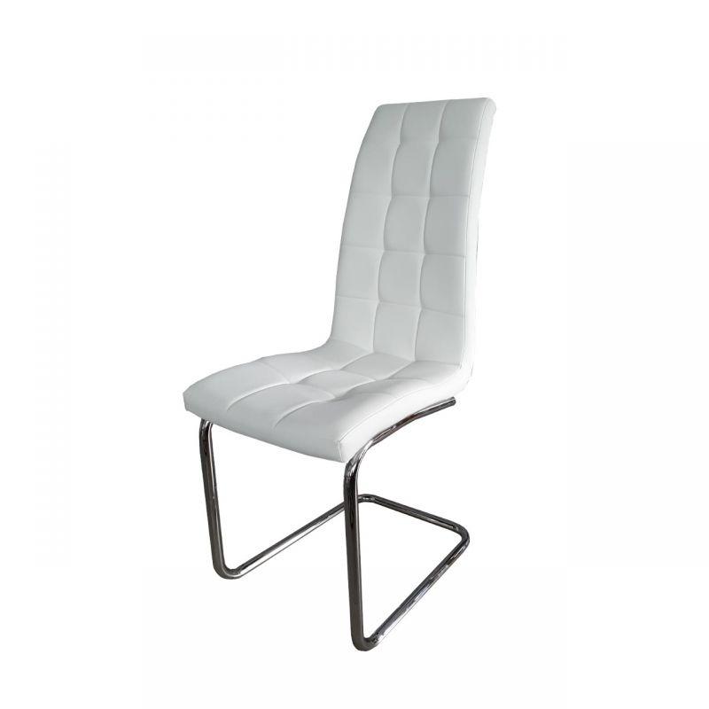 Białe krzesło na płozach tapicerowane