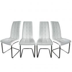 Białe nowoczesne krzesła na płozach do jadalni 4 szt.