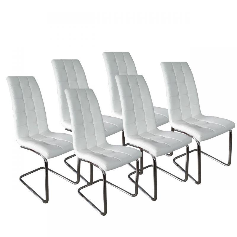 Zestaw białych krzeseł do jadalni 6 szt.