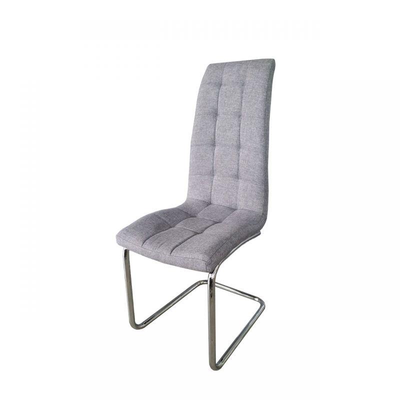 Szare krzesło jadalniane tapicerowane