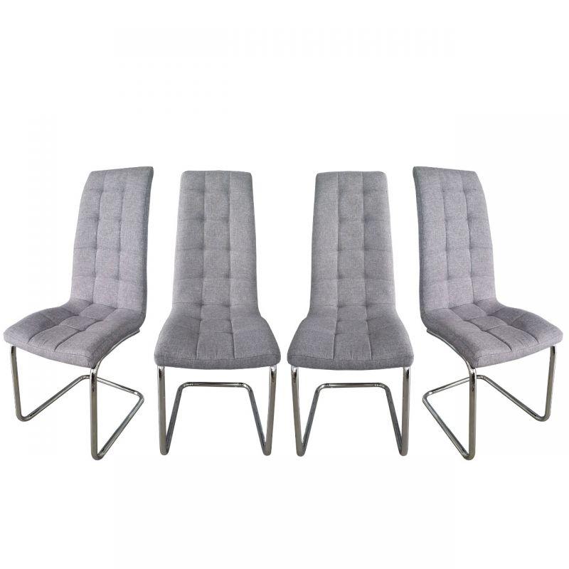 Szare krzesła z obiciem materiałowym 4 szt.