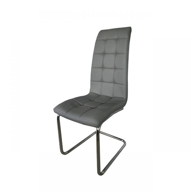 Szare krzesło tapicerowane do jadalni