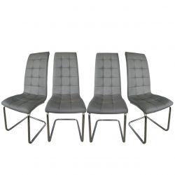 Eleganckie szare krzesła do jadalni 4 szt.