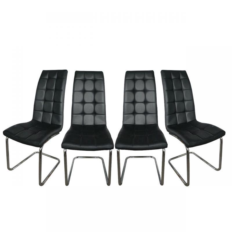4 krzesła tapicerowane do jadalni czarne