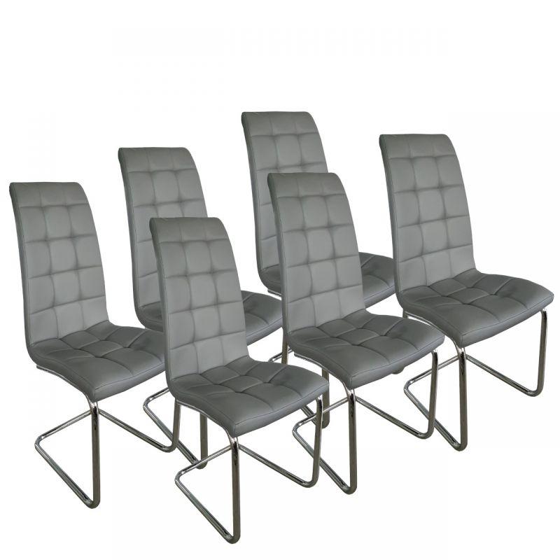 Nowoczesne krzesła jadalniane chromowane ekoskóra 6 szt.