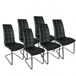 Nowoczesne krzesła do jadalni czarne ekoskóra 6 szt.