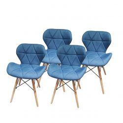 Turkusowe krzesła tapicerowane materiałem