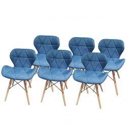 Turkusowe krzesła do jadalni komplet 6 szt