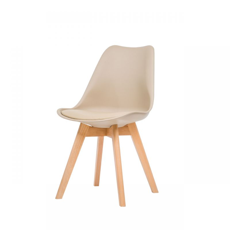 Krzesło skandynawskie beżowe do kuchni, do poczekalni